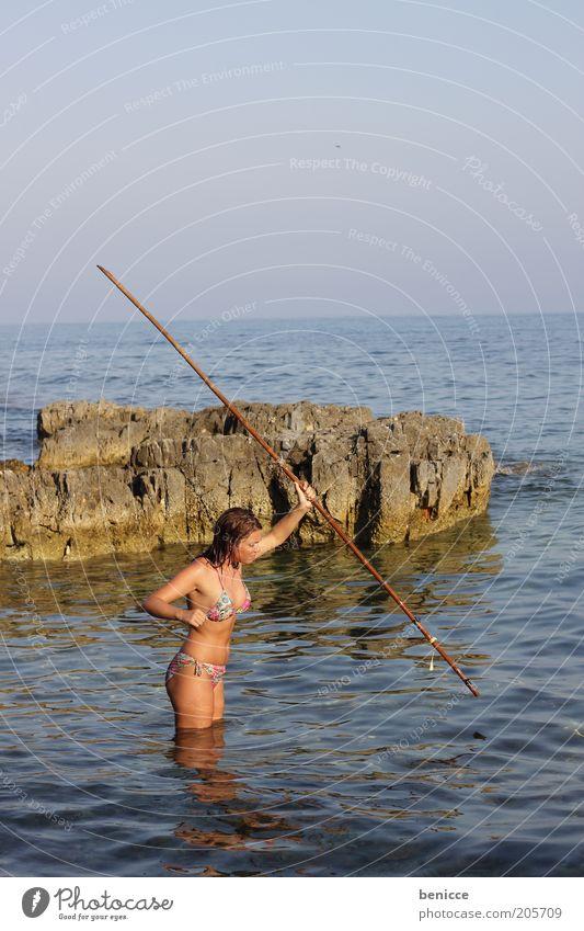 Woman Human being Water Sky Ocean Blue Summer Beach Vacation & Travel Coast Horizon Rock Island Catch Bikini Hunting