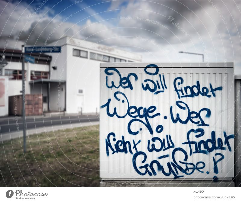 quirky Subculture Graffiti Sky Clouds Grass Jessen Saxony-Anhalt Germany House (Residential Structure) Wall (barrier) Wall (building) Characters Astute Smart
