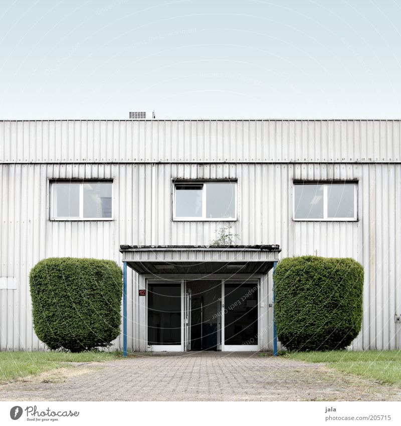 entrance Workplace Company Sky Plant Bushes Foliage plant House (Residential Structure) Factory Manmade structures Building Facade Window Door Lanes & trails