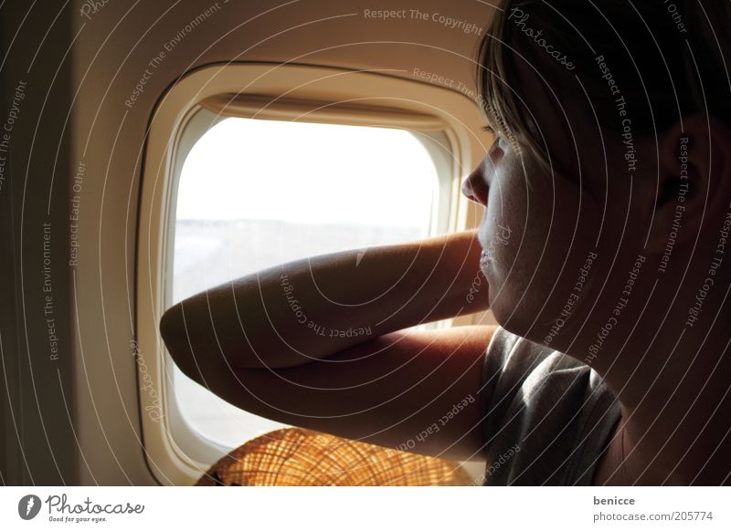 and departure Woman Human being Airplane Window Sit Flying Aviation Airport Vacation & Travel Looking Observe Passenger Europe European Young woman Anxious