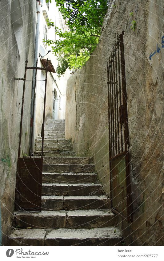 narrow gases Deserted Empty Alley Town Entrance Old Gate Iron gate Grating Stairs Go up Narrow Old town Historic Castle Fear Mysterious Target Day Europe Rust