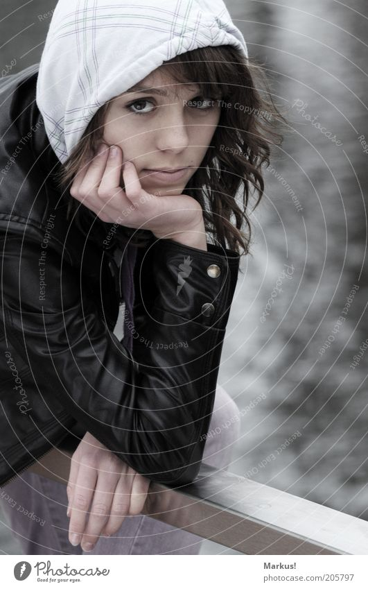 a cold day... Human being Feminine Young woman Youth (Young adults) 1 Freeze Looking Subdued colour Exterior shot Day Deep depth of field Portrait photograph