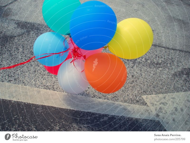 Blue Joy Yellow Street Happy Air Contentment Orange Flying Signs and labeling Happiness Cool (slang) Balloon Joie de vivre (Vitality) Arrow String