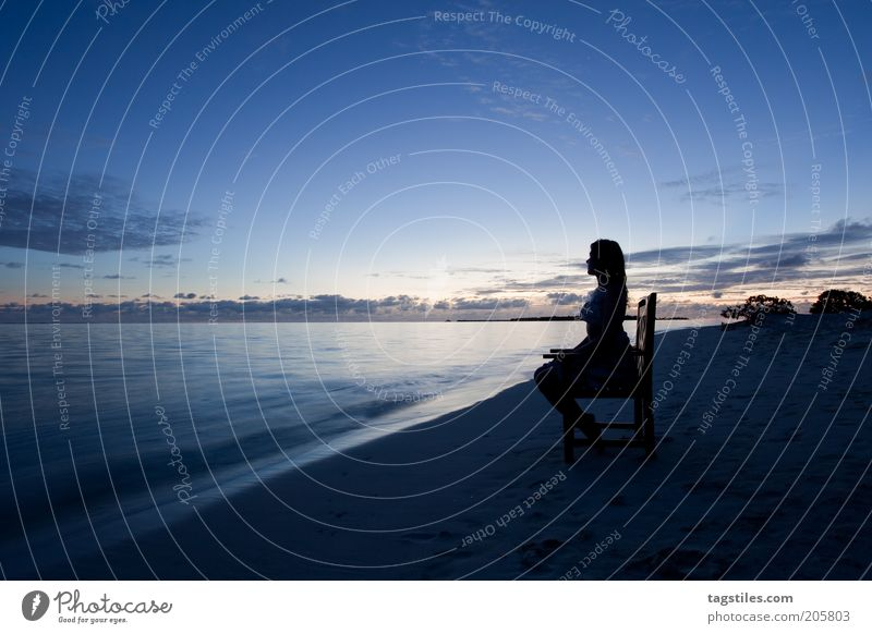 IN THE EVENING IN THE WARM Evening Dusk Maldives dream vacation Vacation & Travel Woman Beach Sunset Chair Sit Relaxation To enjoy Wellness Tourism