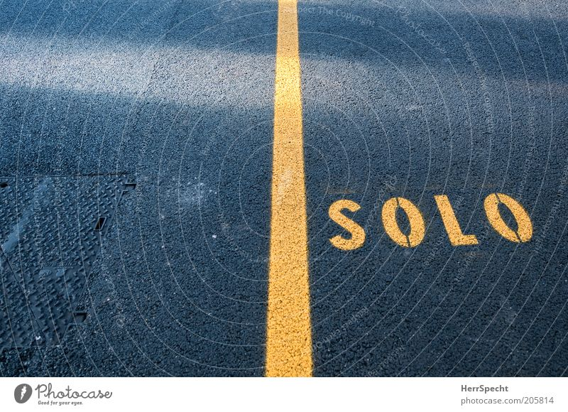Yellow Solo Street Characters Signs and labeling Black Loneliness Asphalt Line Division Section of image Colour photo Exterior shot Close-up Deserted Shadow