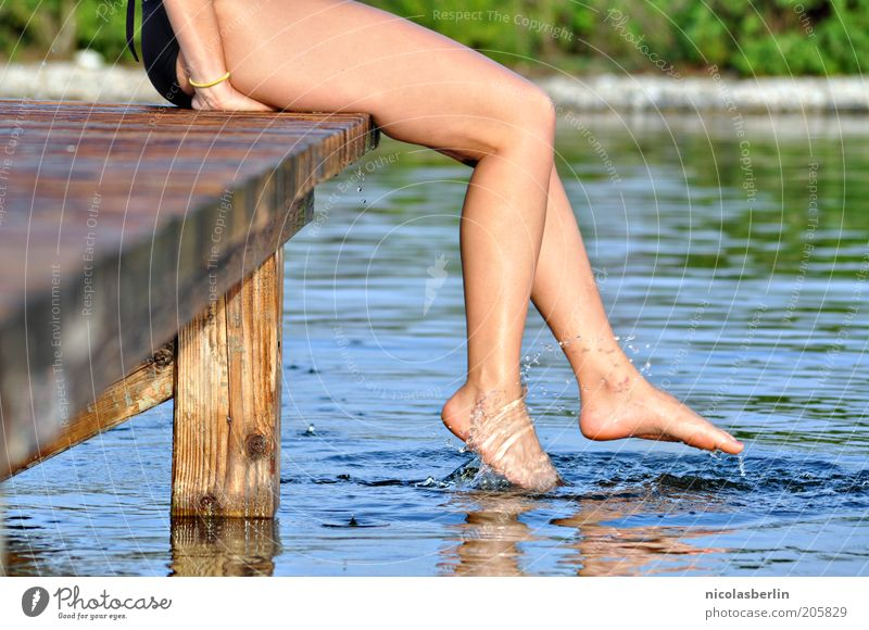 Nature Youth (Young adults) Water Beautiful Joy Vacation & Travel Life Feminine Movement Adults Legs Lake Feet Leisure and hobbies Sit Swimming & Bathing