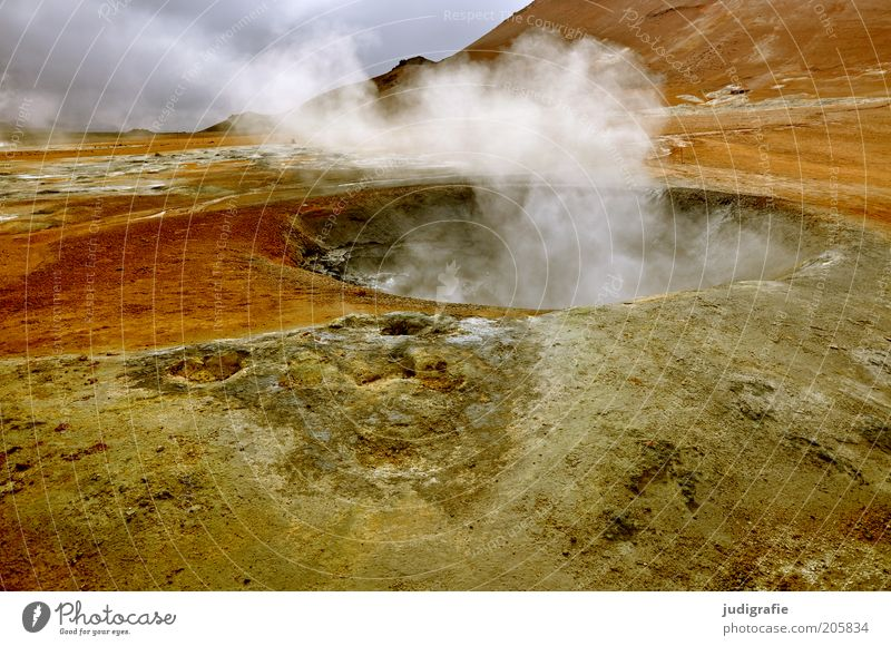 Iceland Environment Nature Landscape Elements Hill Volcano Exceptional Hot Natural Warmth Uniqueness Apocalyptic sentiment Solfatarenfeld Volcanic crater Steam