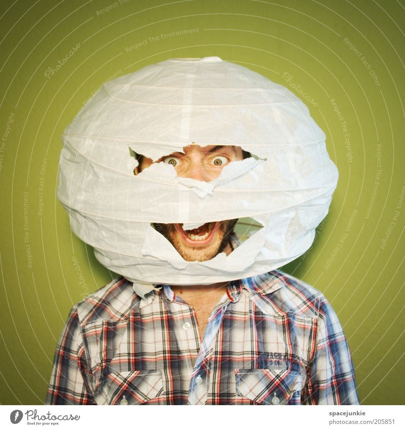 Human being Adults Fear Masculine Dangerous Broken Threat Round Sphere Fear of death Shirt Scream Whimsical Stress Crack & Rip & Tear Checkered