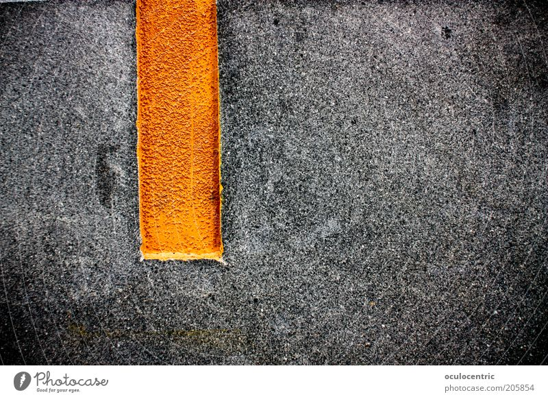 Old Black Wall (building) Gray Wall (barrier) Orange Asphalt Stripe Perspective Shabby Motionless Hard Vertical Direct Brilliant Vignetting