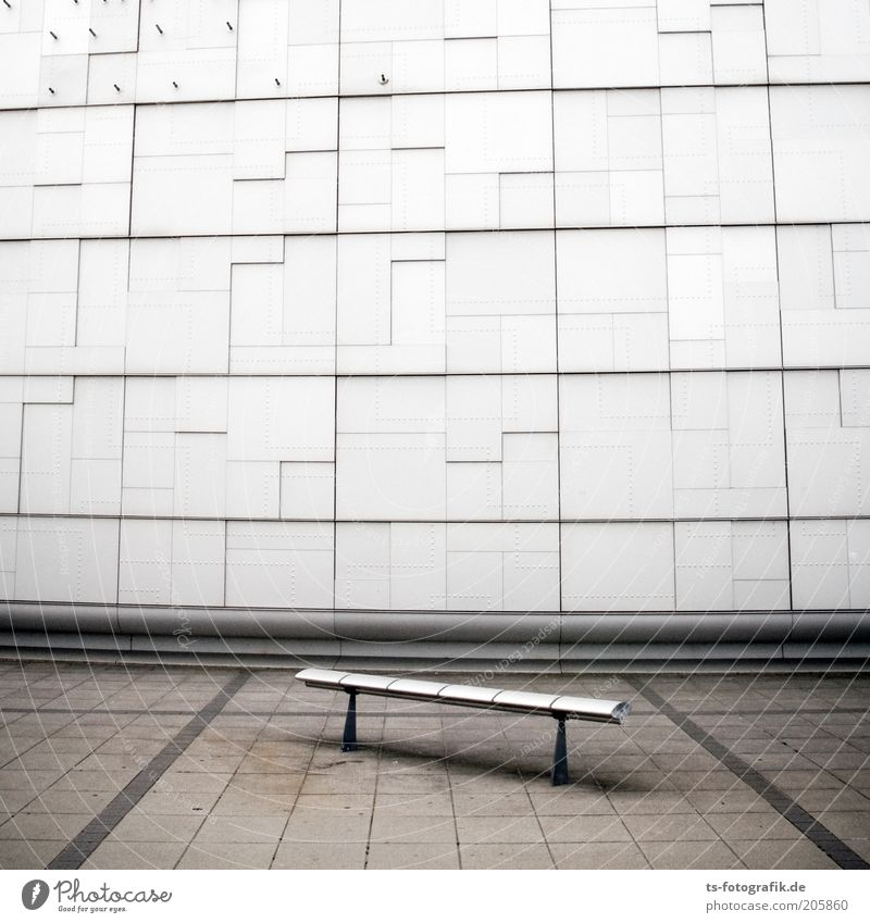 White Loneliness Cold Wall (building) Gray Stone Wall (barrier) Building Line Metal Architecture Concrete Facade Modern Places Bench