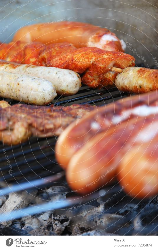 Nutrition Food Leisure and hobbies Hot Delicious Barbecue (event) Fat Meat Dinner Barbecue (apparatus) Organic produce Sausage Bratwurst Grill Steak