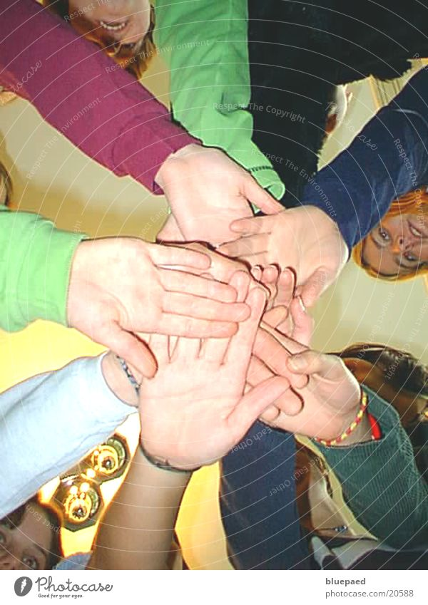 hands Hand Group Team Sports team Youth (Young adults) Attachment Woman Interior shot Worm's-eye view Friendship Power Together