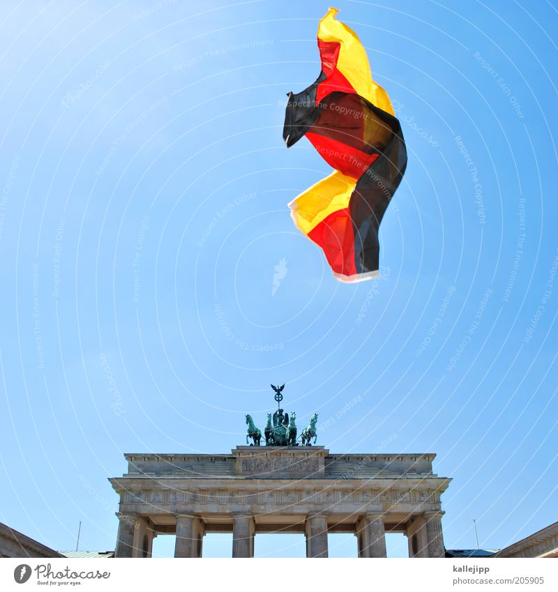 Freedom Germany Reunification Flying German Flag Berlin Capital city Tourist Attraction Pride Politics and state Cloudless sky Europe Democracy Brandenburg Gate