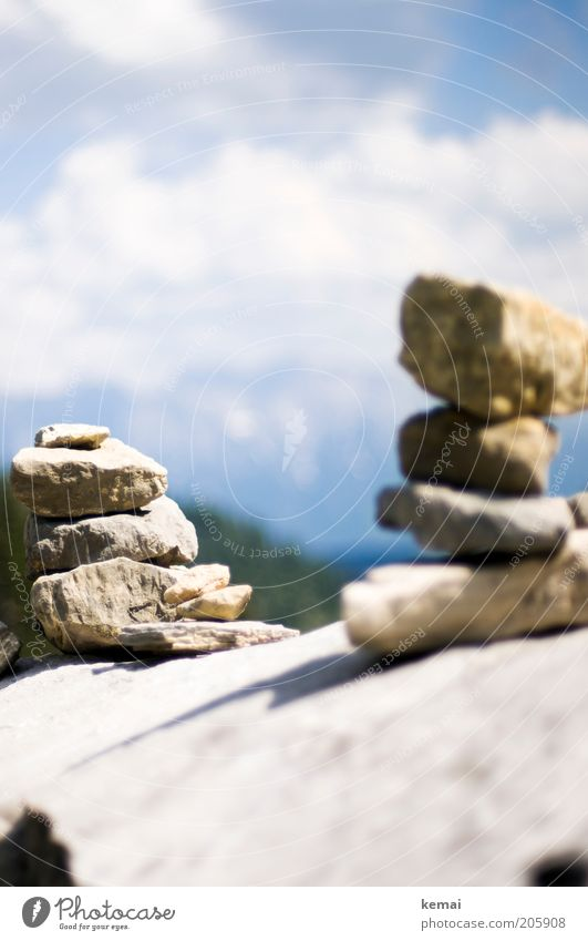 cairn Environment Nature Landscape Sky Clouds Sun Summer Climate Beautiful weather Warmth Alps Mountain Bavaria Stone Stony Bright Mount up pile Build