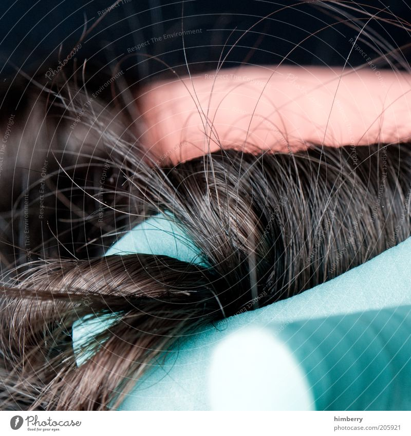 Beautiful Calm Relaxation Feminine Hair and hairstyles Esthetic Curl Brunette Well-being Long-haired Macro (Extreme close-up) Coil Cure Store premises Multicoloured Hair curlers