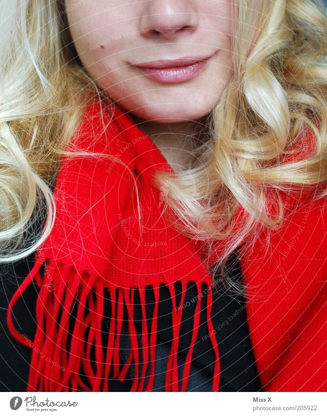 Human being Youth (Young adults) Beautiful Feminine Hair and hairstyles Blonde Adults Happiness Lips Smiling Curl Long-haired Scarf Mole Young woman Clothing