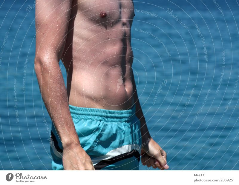 Human being Man Youth (Young adults) Water Ocean Blue Summer Eroticism Healthy Body Adults Masculine Esthetic Thin