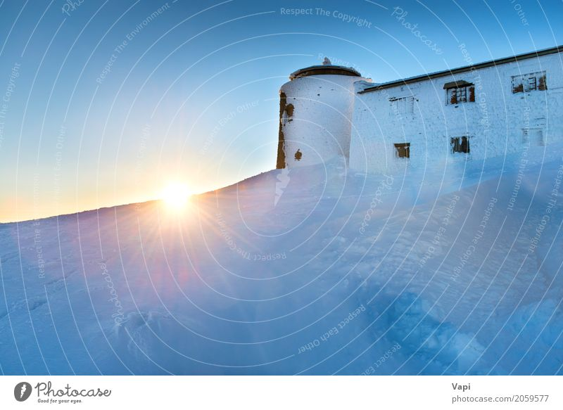 Old castle on the top of a mountain Vacation & Travel Tourism Trip Adventure Sun Winter Snow Winter vacation Mountain House (Residential Structure)
