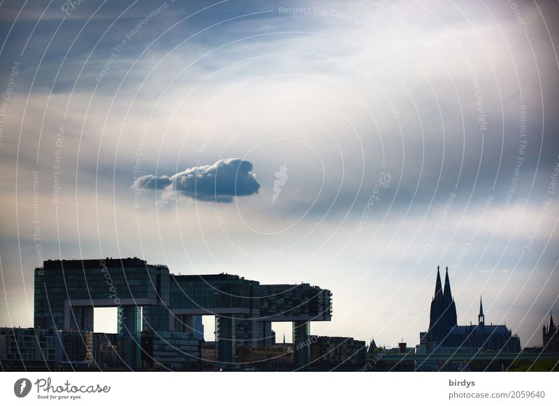 Attention - cloud over Cologne Sky Clouds Storm clouds Germany Town Downtown Dome Architecture Tourist Attraction Landmark Cologne Cathedral Exceptional Threat