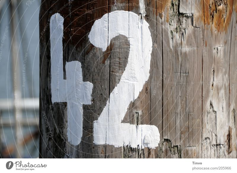 42 Traffic infrastructure Navigation Harbour Digits and numbers White Wooden stake Weathered Jetty Berth Fishing port Clue Colour Maritime Answer Colour photo