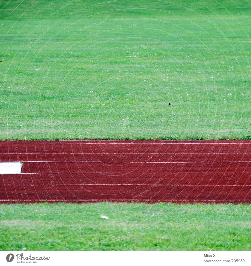 green red green Sports Track and Field Sporting Complex Football pitch Stadium Racecourse Grass Meadow Green Red Sporting grounds Stripe Abstract Colour photo