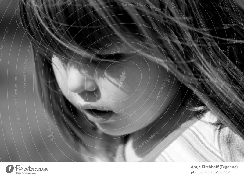 Human being Child Beautiful Girl Face Emotions Infancy Cute 8 - 13 years Black & white photo Long-haired Safety (feeling of)