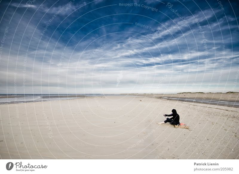 Human being Nature Water Sky Ocean Summer Beach Vacation & Travel Black Clouds Loneliness Far-off places Relaxation Sand Landscape Air