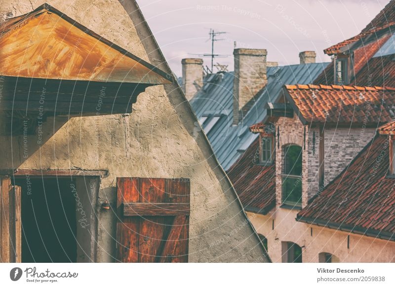 The roofs of the old city Sky Vacation & Travel Old Summer Town Landscape Red House (Residential Structure) Architecture Street Building Tourism Stone