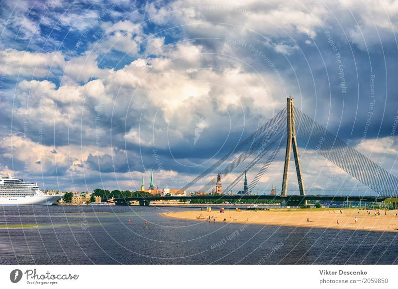 Panorama of Riga in a Sunny day Vacation & Travel Blue Beautiful White Ocean Relaxation Beach Building Tourism Watercraft Trip Transport Church Large Historic