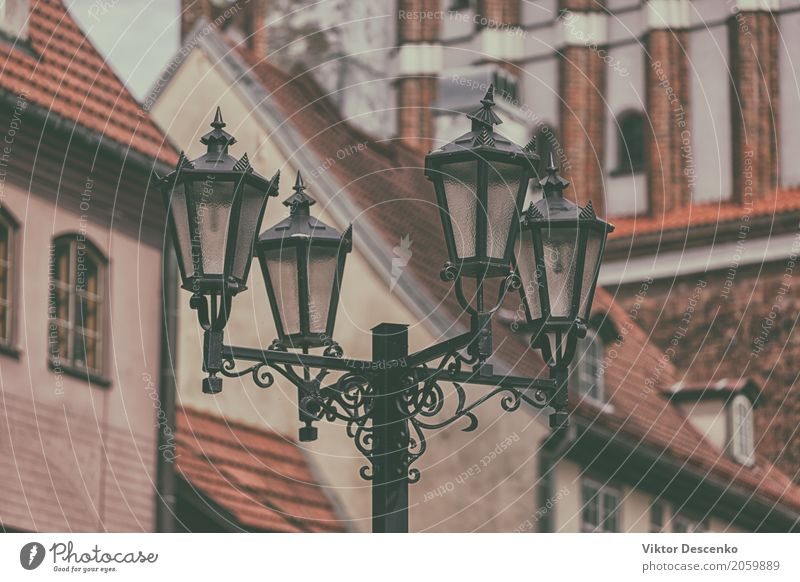 Street lamp in Old Riga Coffee Style Design House (Residential Structure) Decoration Lamp Business Art Baltic Sea Town Building Architecture Stone Metal