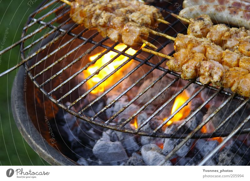 lunches Meat Nutrition Dinner Barbecue (event) Barbecue (apparatus) Grill Charcoal (cooking) BBQ season Barbecue area Garden Nature Summer Fire speared