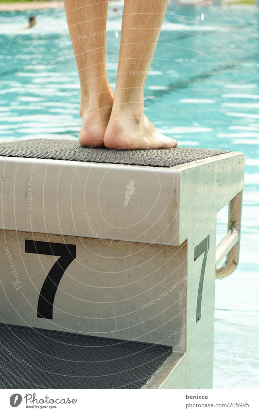 at the outset Legs Springboard Swimming pool Beginning Starting block (track and field) Water Back-light Open-air swimming pool Stand Jump Man Masculine