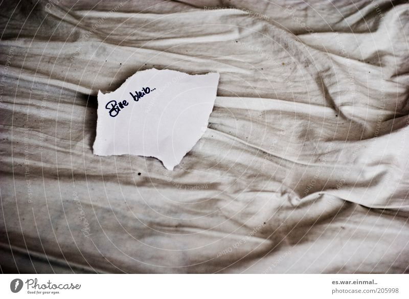 please stay. Paper Piece of paper Think Love Sadness Gloomy Friendship Hope Grief Lovesickness Longing Loneliness Remorse Information Desire Sheet Wrinkles