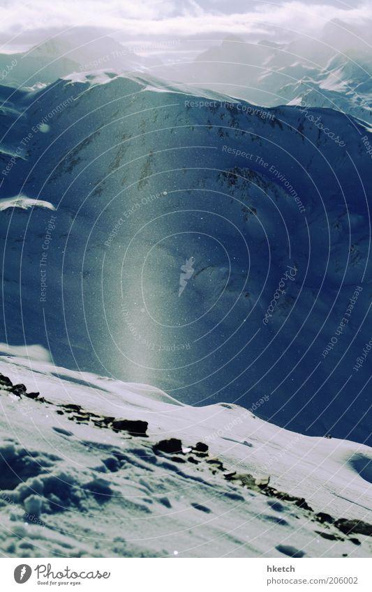 Sky Blue White Winter Clouds Cold Snow Mountain Horizon Authentic Illuminate Idyll Joie de vivre (Vitality) Ease Snowscape Snowcapped peak