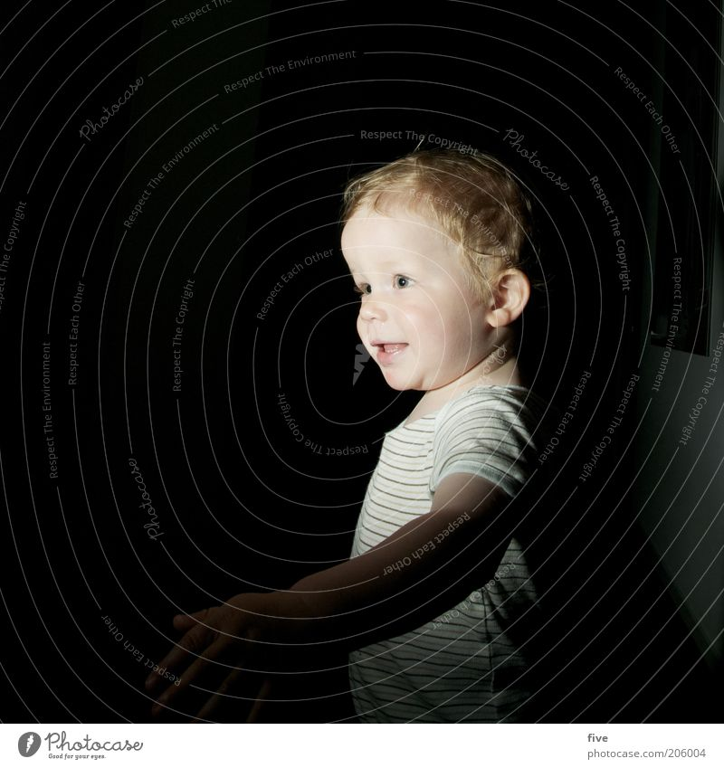 Human being Child Face Dark Boy (child) Head Movement Happy Infancy Blonde Flat (apartment) Going Masculine Free Stand Curiosity