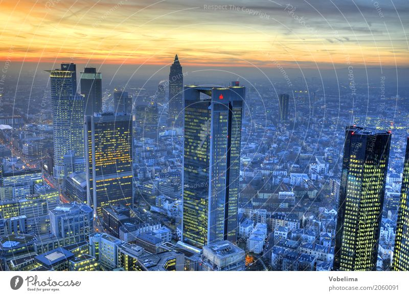 Frankfurt, evening Town Downtown Skyline High-rise Bank building Building Architecture Blue Multicoloured Yellow Gold Gray Pink Black City Bench banks Dusk