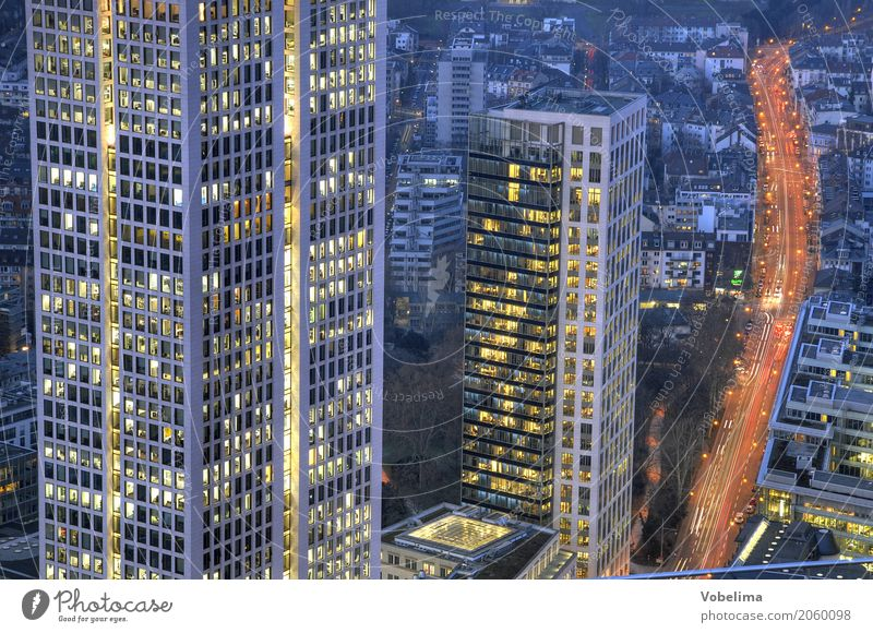 Frankfurt, evening Town Downtown Skyline High-rise Bank building Architecture Transport Traffic infrastructure Rush hour Road traffic Street Blue Multicoloured
