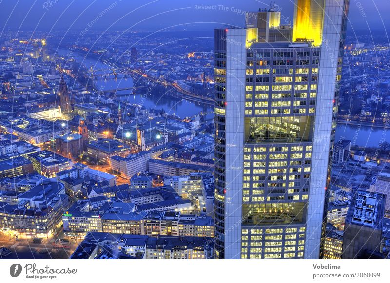 Frankfurt, evening River Town Downtown Skyline High-rise Bank building Dome Bridge Architecture Blue Multicoloured Yellow Gold Gray Orange City Bench banks Dusk