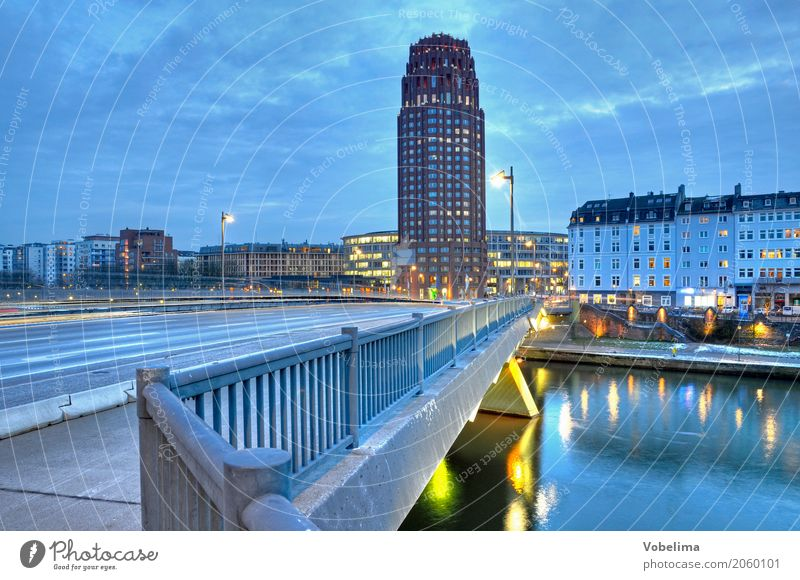 Main Plaza Tower in Frankfurt River Town House (Residential Structure) High-rise Bridge Architecture Street Blue Yellow Gold Gray raft bridge HDR evening mood