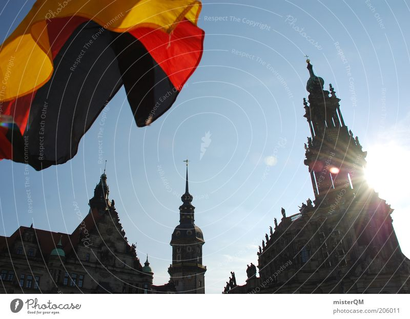 Sky Blue Sun Freedom Architecture Germany Feasts & Celebrations Esthetic Perspective Hope Culture Flag Dresden Castle Vantage point