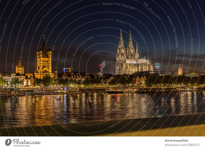 Skyline Cologne Architecture River Rhine Town Downtown Old town House (Residential Structure) Church Dome Manmade structures Building Tourist Attraction