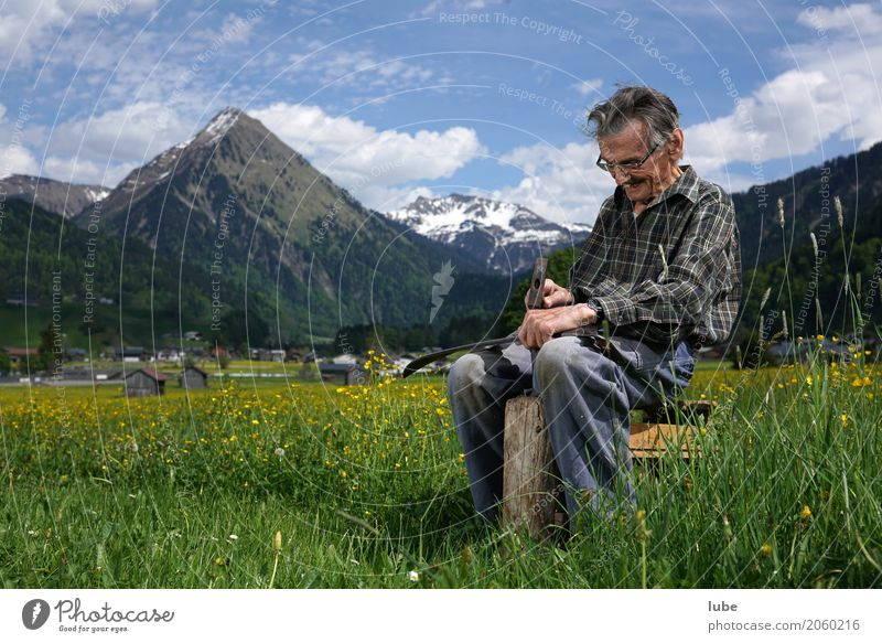 Human being Nature Man Old Landscape Spring Senior citizen Meadow Work and employment Field 60 years and older To enjoy Fitness Tangy Male senior Agriculture