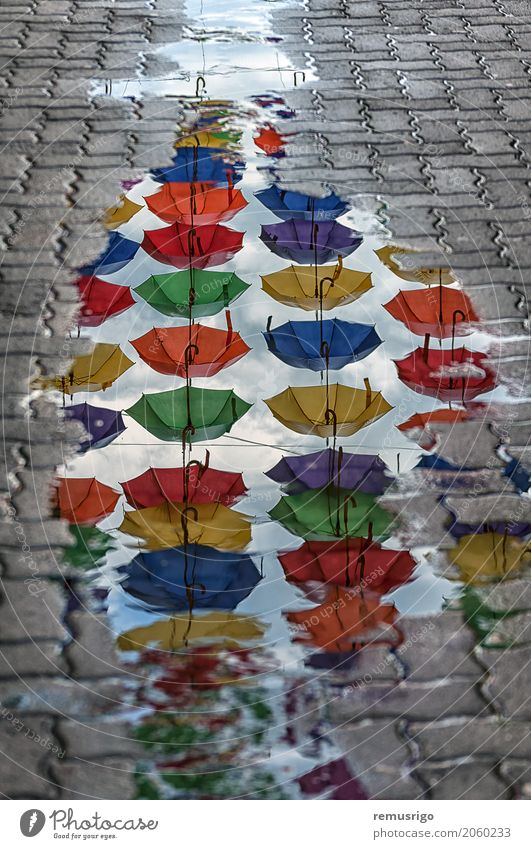 Umbrellas reflection in a puddle Vacation & Travel Town Landscape Architecture Street Building Tourism Rain Culture Historic Mirror Puddle City Romania
