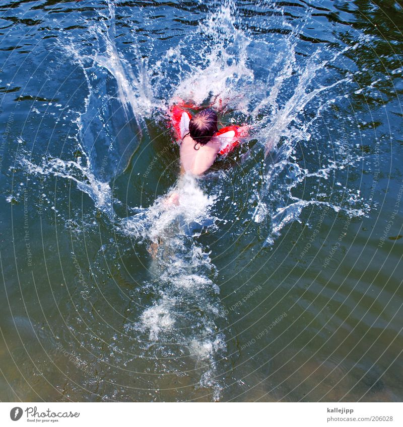 Human being Child Water Red Summer Joy Life Playing Boy (child) Jump Lake Infancy Waves Swimming & Bathing Drops of water Safety