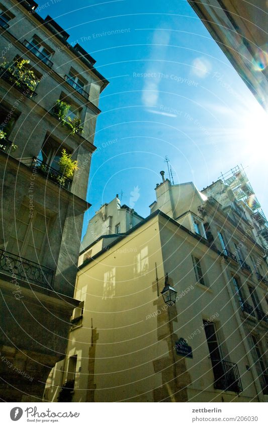 Paris again France marais arrondissement House (Residential Structure) Facade Gable Sky Beautiful weather Cloudless sky Sun Back-light Dazzle Flashy Lighting