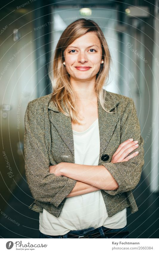 Blond student with crossed arms Education Study University & College student Work and employment Profession Workplace office Business Company Career Success