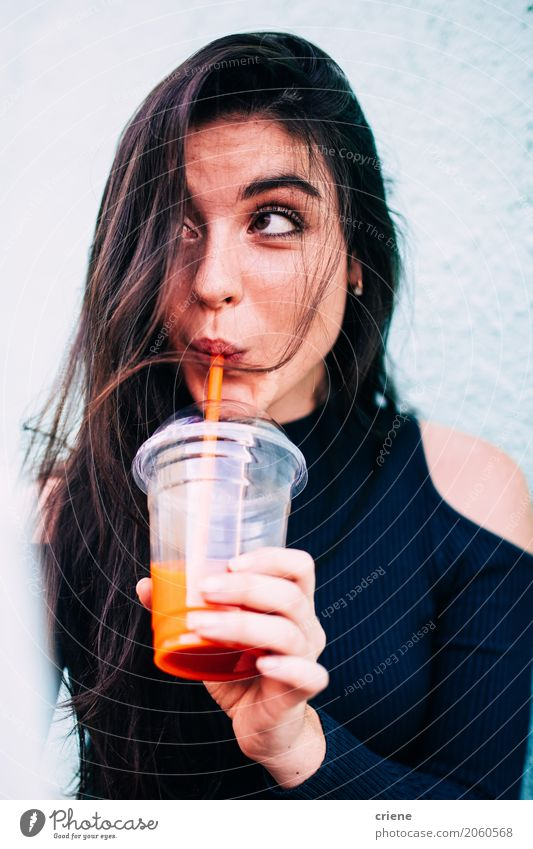 Brunette woman drinking healthy juice Vegetable Fruit Nutrition Beverage Drinking Juice Human being Feminine Young woman Youth (Young adults) Woman Adults 1
