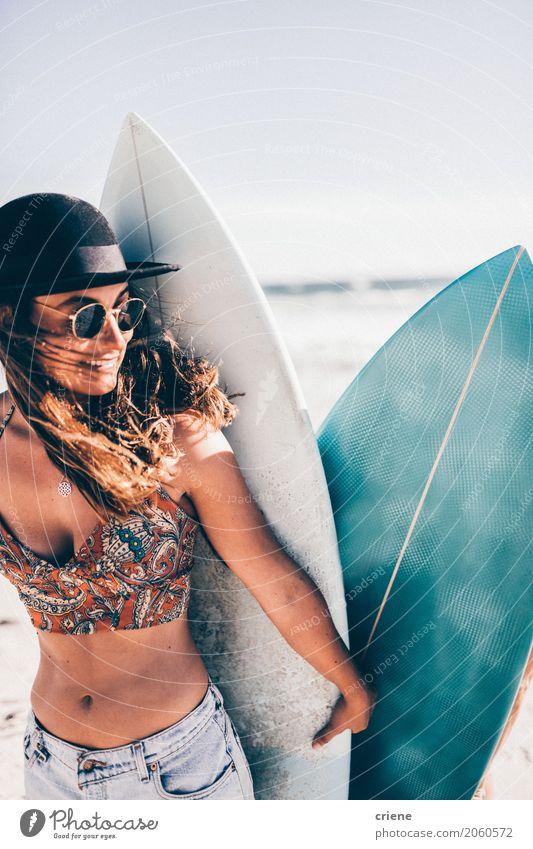 Caucasian Girl holding surfboard on the beach Lifestyle Joy Leisure and hobbies Vacation & Travel Trip Adventure Freedom Summer Summer vacation Beach Ocean