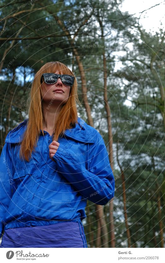 Forest view Woman Beautiful Long-haired Red-haired Sunglasses Crazy royal blue Looking Impassive Cool-headed Cautious Think Meditative Contrast Flashy Tree