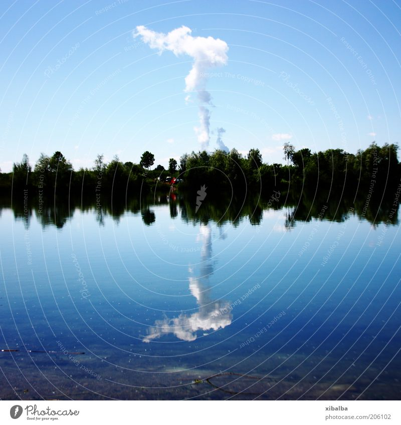 Water Sky Blue Summer Clouds Lake Warmth Landscape Environment Energy industry Dangerous Future Threat Climate Hot Electricity